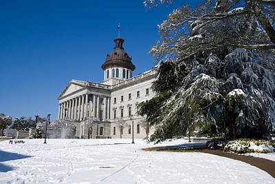 Photograph - State House Snow In Color by Joseph C Hinson Photography
