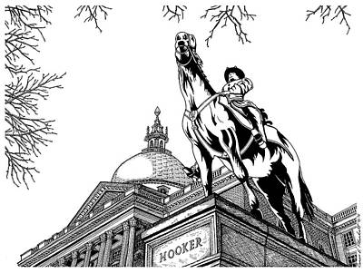Boston Ma Drawing - State House, Boston, Ma by Conor Plunkett