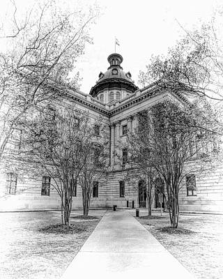 Photograph - State House On A Spring Day - Black And White by Jenny Hudson