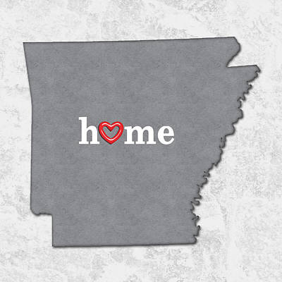 State Map Outline Arkansas With Heart In Home Art Print by Elaine Plesser