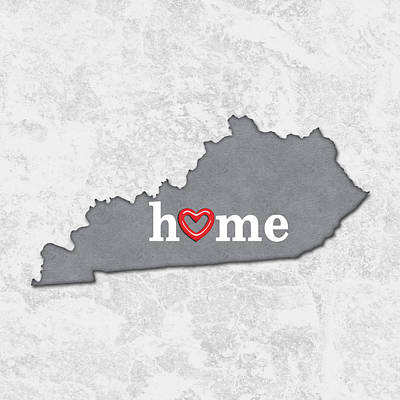 Kentucky Painting - State Map Outline Kentucky With Heart In Home by Elaine Plesser