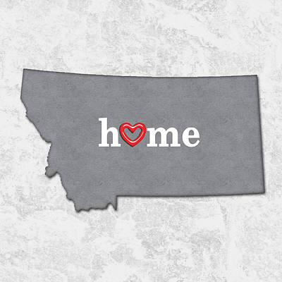 Montana State Map Painting - State Map Outline Montana With Heart In Home by Elaine Plesser