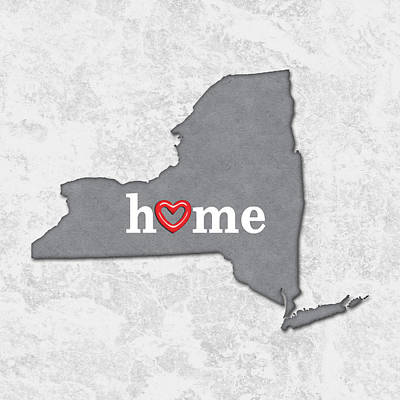 Cartography Painting - State Map Outline New York With Heart In Home by Elaine Plesser