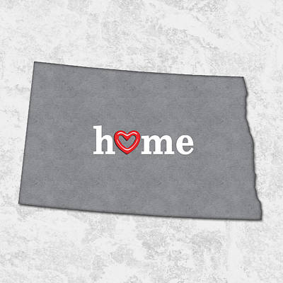 Dakota Painting - State Map Outline North Dakota With Heart In Home by Elaine Plesser