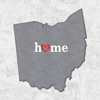 Ohio Painting - State Map Outline Ohio With Heart In Home by Elaine Plesser