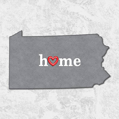 Cartography Painting - State Map Outline Pennsylvania With Heart In Home by Elaine Plesser