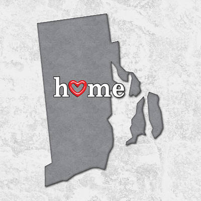 State Map Outline Rhode Island With Heart In Home Art Print by Elaine Plesser