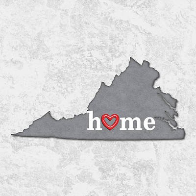 Cartography Painting - State Map Outline Virginia With Heart In Home by Elaine Plesser
