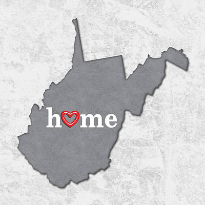 Cartography Painting - State Map Outline West Virginia With Heart In Home by Elaine Plesser