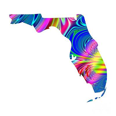 Digital Art - State Of Florida Map Rainbow Splash Fractal by Rose Santuci-Sofranko