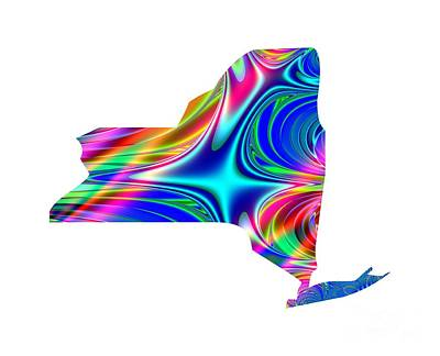Digital Art - State Of New York Map Rainbow Splash Fractal by Rose Santuci-Sofranko