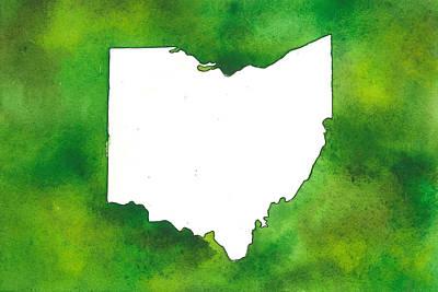 Ou. Ohio University Painting - State Of Ohio - Ohio University - Green by Heather McCray
