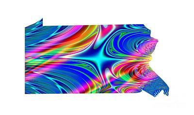 Digital Art - State Of Pennsylvania Map Rainbow Splash Fractal by Rose Santuci-Sofranko