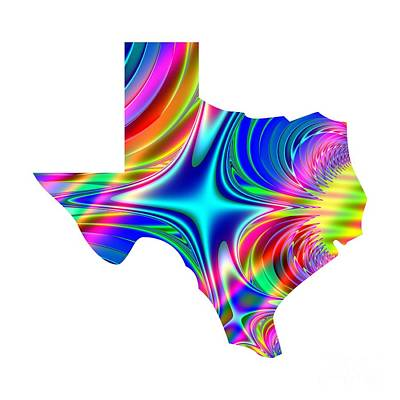 Digital Art - State Of Texas Map Rainbow Splash Fractal by Rose Santuci-Sofranko