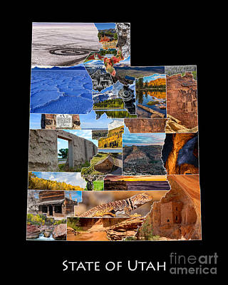 Photograph - State Of Utah Photo Map by Gary Whitton