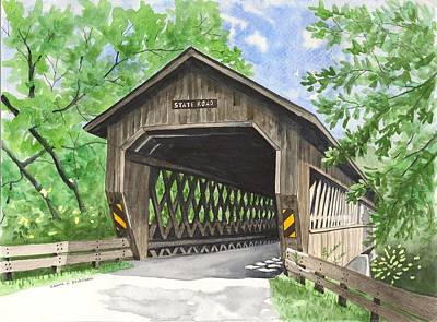 Covered Bridge Painting - State Road Bridge by Laurie Anderson