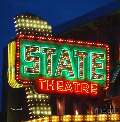 Indoor Mixed Media - State Theater In Impasto by Garland Johnson