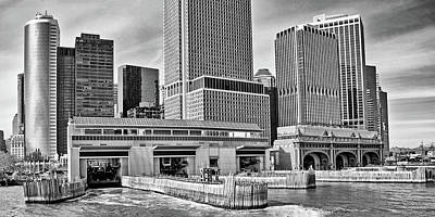 Photograph - Staten Island Ferry Docks In B And W by Frank Morales Jr