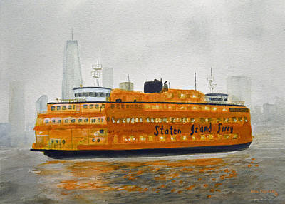 Queen City Skyline Painting - Staten Island Ferry by Ken Figurski