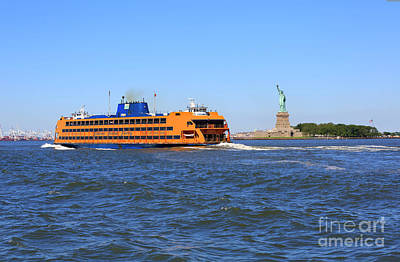 Photograph - Staten Island Ferry Passes The Statue Of Liberty by Louise Heusinkveld