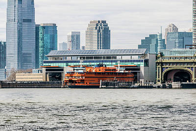 Staten Island Ferry In New York Photograph - Staten Island Ferry Whitehall Terminal by William Rogers