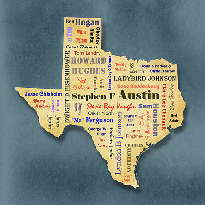 Digital Art - States - Famous Texas by Ron Grafe