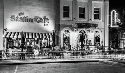 City Scenes Photograph - Station Cafe And Blue Moon - Bentonville Arkansas - Black - White by Gregory Ballos