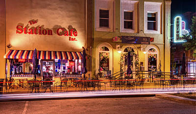 Photograph - Station Cafe And Blue Moon - Bentonville Arkansas by Gregory Ballos