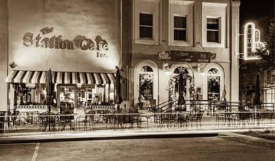 Photograph - Station Cafe And Blue Moon - Bentonville Arkansas - Sepia by Gregory Ballos