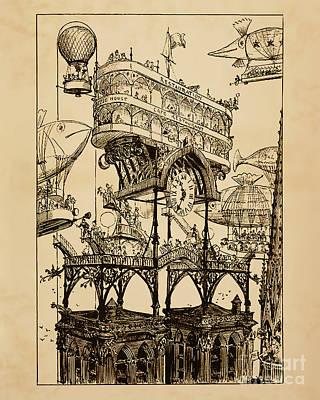 Steampunk Drawings - Station Centrale Des Aeronefs A Notre-Dame by Safran Fine Art
