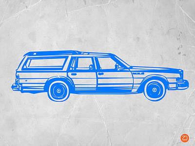 Car Art Drawing - Station Wagon by Naxart Studio