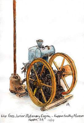 Drawing - Stationary Engine by Anne Huth