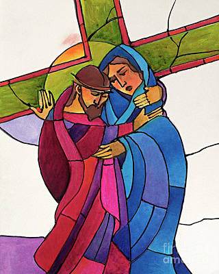 Painting - Stations Of The Cross - 04 Jesus Meets His Sorrowful Mother - Mmjms by Br Mickey McGrath OSFS