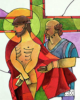 Painting - Stations Of The Cross - 10 Jesus Is Stripped Of His Clothes - Mmjsh by Br Mickey McGrath OSFS
