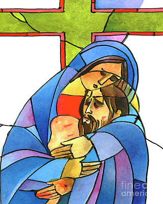 Painting - Stations Of The Cross - 13 Body Of Jesus Is Taken From The Cross - Mmjtf by Br Mickey McGrath OSFS
