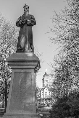 Photograph - Statue And Dome University Of Notre Dame  by John McGraw