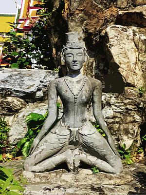 Digital Art - Statue Depicting A Thai Yoga Pose by Helissa Grundemann
