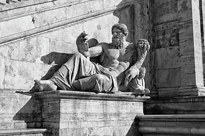 Photograph - Statue Di Nilo Fontana Della Dea Capitoline Hill Rome Black And White by Shawn O'Brien
