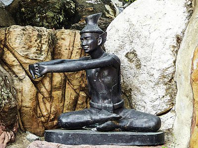 Photograph - Statue Doing A Thai Yoga Pose by Helissa Grundemann