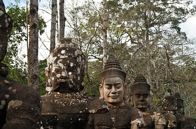 Photograph - Statue Heads Ankor Thom by James Gay