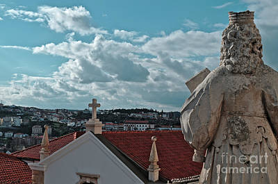 Photograph - Statue Looking Over Coimbra City by Angelo DeVal