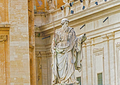 Photograph - Statue Of Apostle Paul In Front Of The Basilica Of St. Peter by Marek Poplawski