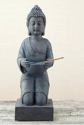 Religious Amulet Photograph - Statue Of Buddha With Incense Stick by Kira Yan