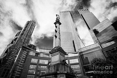 Statue Of Christopher Columbus In Columbus Circle With Time Warner Center Central Park Place And Hea Art Print