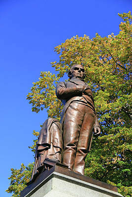 Concord Center Photograph - Statue Of Daniel Webster - Central Park # 2 by Allen Beatty
