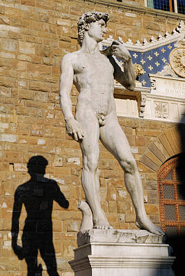 Tuscany Photograph - Statue Of David By Michelangelo And His Shadow In Signoria Squar by Reimar Gaertner