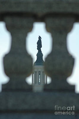 Statue Of Freedom Through Railing Art Print