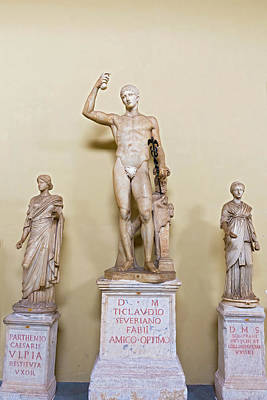 Photograph - statue of Hermes, in the Gallery of Statues at the Vatican Museu by Marek Poplawski