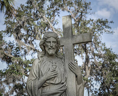 Photograph - Statue Of Jesus And Cross by Kim Hojnacki