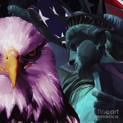 Usa Flag Painting - Statue Of Liberty 021 by Gull G